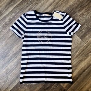 NWT Michael Kors Striped and Studded Logo Tee